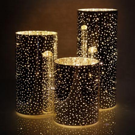 Photophores en verre LED, set de 3