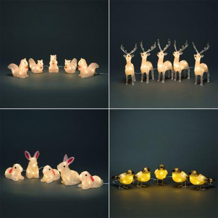 Animaux en acrylique LED, set de 5