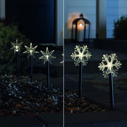 Tiges LED avec 5 LED blanches-chaudes, set de 5