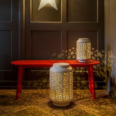 Lanterne vintage LED «Stars», crème