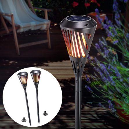 Flambeau solaire LED avec effet de flamme, Set de 2