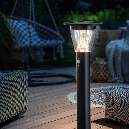 Lampe solaire de chemin LED «Black Metal» avec détecteur de mouvement
