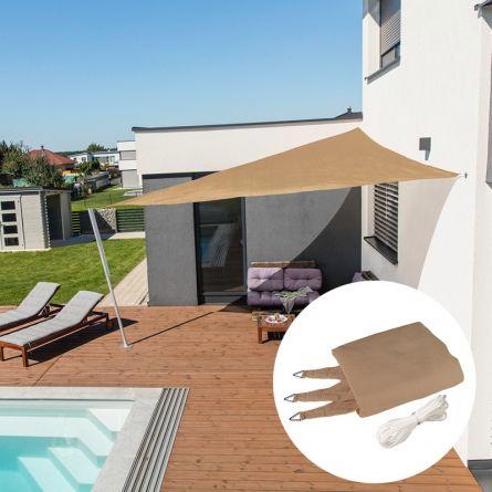 Dreieck-Sonnensegel «Capri», schilf, mit 225 g/m² HDPE-Gewebe