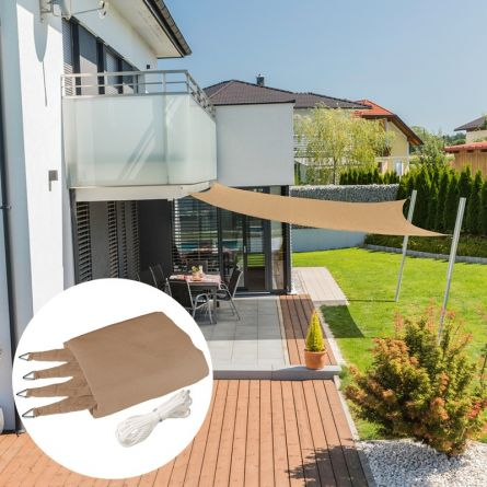 Quadrat-Sonnensegel «Capri», schilf, mit 225 g/m² HDPE-Gewebe
