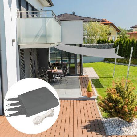 Quadrat-Sonnensegel «Capri», grau, mit 225 g/m² HDPE-Gewebe
