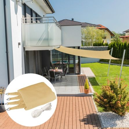 Quadrat-Sonnensegel «Capri», champagner, mit 225 g/m² HDPE-Gewebe