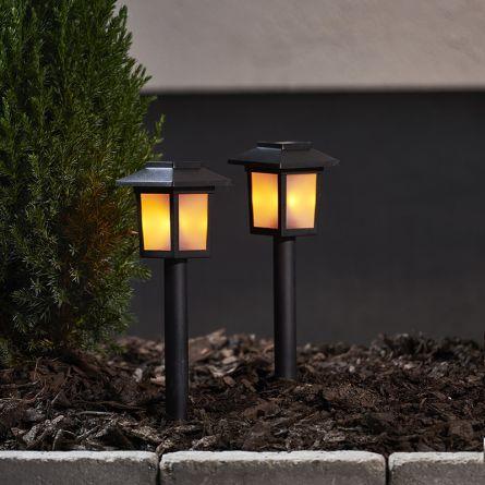 Lanterne solaire à LED sur piquet «Flame», set de 4