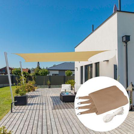 Rechteck-Sonnensegel «Capri», schilf, mit 225 g/m² HDPE-Gewebe