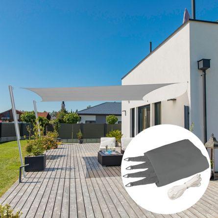 Rechteck-Sonnensegel «Capri», grau, mit 225 g/m² HDPE-Gewebe