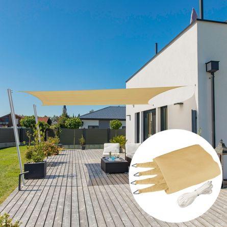 Rechteck-Sonnensegel «Capri», champagner, mit 225 g/m² HDPE-Gewebe