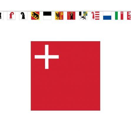 Chaîne de drapeaux cantons PVC, 20×20 cm PVC 20x20 cm