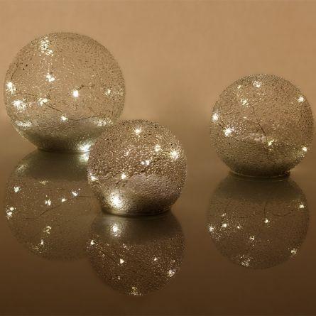 LED Glasbälle «Drops», 3er Set, batteriebetrieben