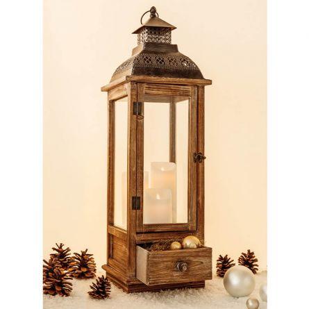 Lanternes en bois «Vintage» avec tiroir, 77 cm