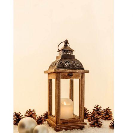 Lanternes en bois «Vintage» avec tiroir, 42,5 cm