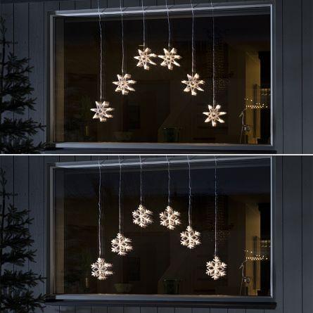 Rideaux lumineux LED «Flocons de neige & Étoiles»