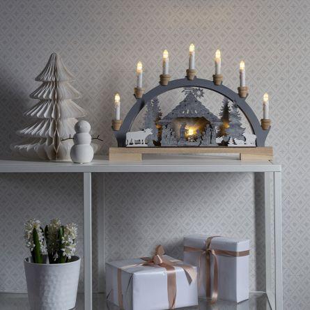 Lustre à LED silhouettes en bois «Nativité» blanc