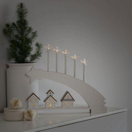 Lustre LED silhouette en bois «Comète» blanc