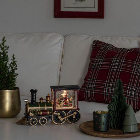 Boule à neige LED «Locomotive avec Père Noël»