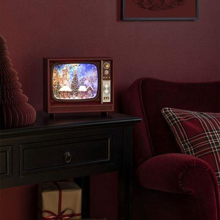 Boule à neige LED «TV avec marché de Noël & musique»