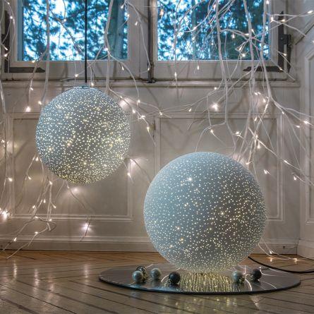Glasball «Glamour», weiss, mit Stromanschluss