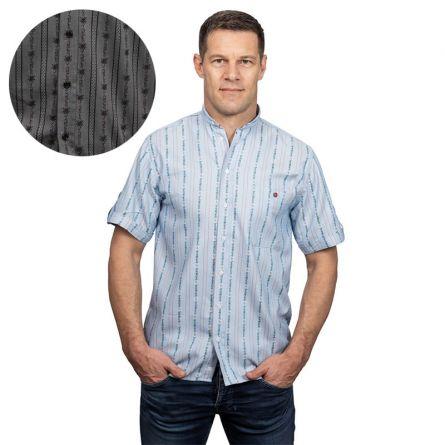 Herrenhemd «Edelweiss» kurzarm, mit Stehkragen und Brusttasche