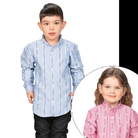 Kinderhemd «Edelweiss» langarm, mit Stehkragen