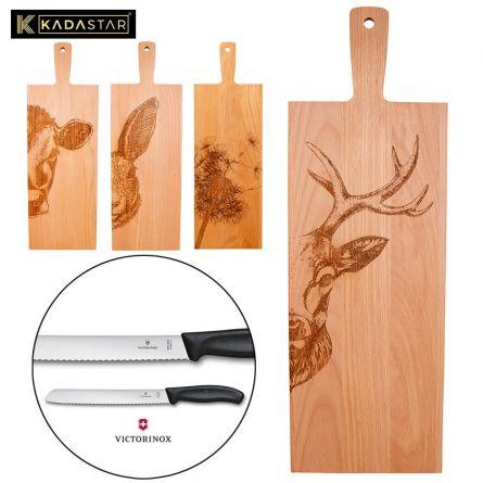 Planche en bois «Apéro» & couteau à pain «Swiss Classic»